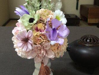 仏花   真珠の涙  紬   (仏花、造花、お供え、お盆、お彼岸、敬老の日)の画像