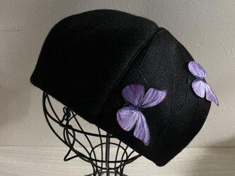 TOPI紫の蝶のウールベレー(58〜60)の画像