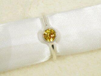 Hi様、オーダー品_0.79ctスフェーンとSV925の指輪(ロジウム、ふくりん留め、ミル打ち、天然石)の画像