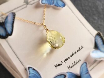 〈14kgf〉1点物宝石質レモンクオーツのネックレス用チャームの画像