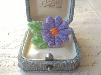 ヴィンテージ Lilac・OrangeーFlower(45×33㎜)ブローチの画像
