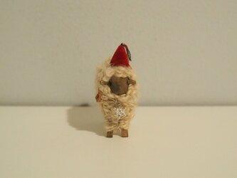 hitsuji object / M size Walnut *雪結晶・赤帽子*の画像