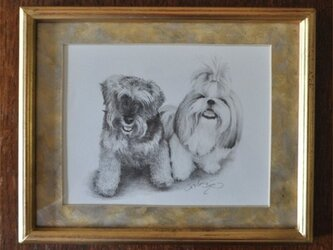 仲良し犬2匹の細密画の画像