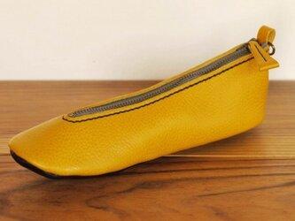 靴型ペンケース YL×NV #7-1 (イタリアンレザー)の画像