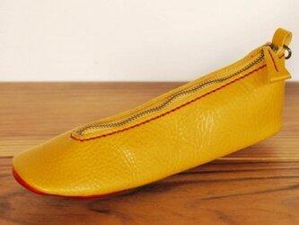 靴型ペンケース YL×RD #7-2 (イタリアンレザー)の画像