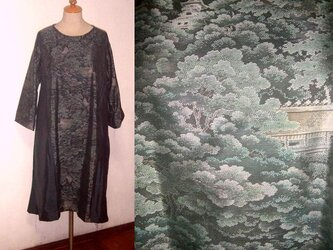 Sold Out着物リメイク♪都喜ヱ門大島紬&泥藍大島紬のコンビフレアーワンピース♪ハンドメイド・逸品の画像