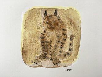 額付き水彩画「茶色の猫」の画像