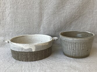 *福袋 耳付き鉢とフリーカップ2点セット(縦ライン柄)の画像