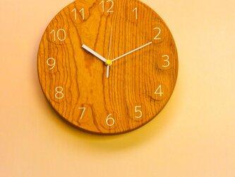 wall clock ケヤキ 無垢一枚板の画像