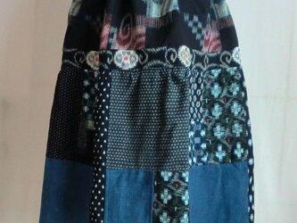 藍染いろいろ布のスカート  1344の画像