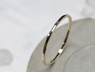 槌目 K10ゴールドプレーンリング 1.0mm幅 凸凹|K10 GOLD RING|348の画像