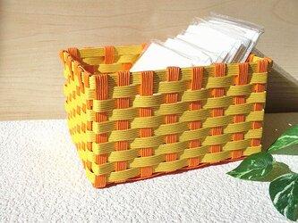クラフトカゴ 人気の和柄模様 オレンジ色×黄色 小物収納 プレゼントにもの画像