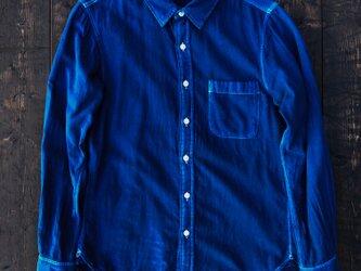 正藍染ガーゼシャツ Lsizeの画像