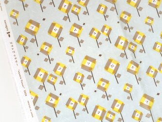 綿ダブルガーゼ「スクエアフラワー」イエロー /50cmにつきの画像