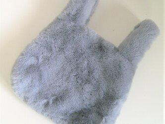 ¶ new antique fur ¶ エコバッグ型エコファーハンドバッグ◆ブルーグレーの画像