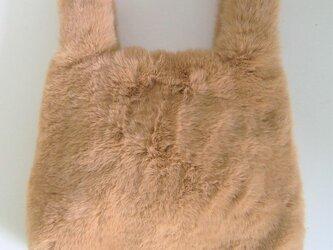 ¶ new antique fur ¶ エコバッグ型エコファーハンドバッグ◆ライトブラウンの画像