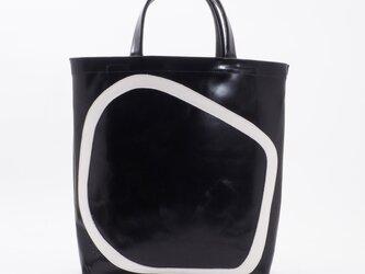 whiteleather pattern bag3(黒×白)33×28×7/GDZ006の画像