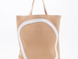 whiteleather pattern bag3(ベージュ×白)33×28×7/GDZ007の画像