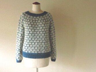 『新色』*キッドモヘア・エクストラファインウール丸編みセーター 石畳模様*ブルージルコンの画像