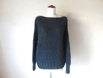 『再販受注生産』ダークグリーン*キッドモヘアのまっすぐ衿のセーター*ラムウール 柔らかセーターの画像
