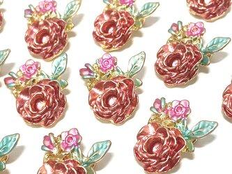 アンティークローズ 薔薇チャーム 6個【バラの花パーツ ピアス ハンドメイド素材】の画像