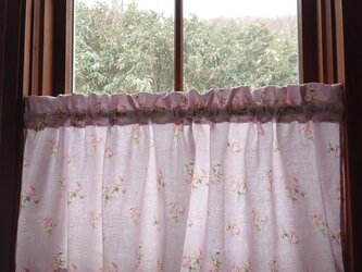 ジャガード織り♪ペールラベンダー薔薇のカフェカーテン 106cm×38cmの画像