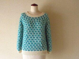 『受注生産』*キッドモヘア・カシミヤ・アンゴラ丸編みセーター 石畳模様*エメラルドグリーン メランジの画像