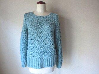 しずくの編み込み模様のセーター ミントブルーメランジ糸 ラムウールの画像