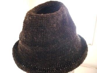 手編み中折れハット黒茶の画像