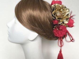 和装婚・成人式に♡ゴールドのアネモネと赤いマムのヘッドドレス(14本セット) 紫陽花 卒業袴 結婚式 成人式の画像
