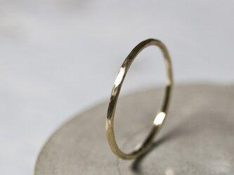 つや消し槌目 K10ゴールドプレーンリング 1.0mm幅 マットハンマー|K10 GOLD RING|401の画像
