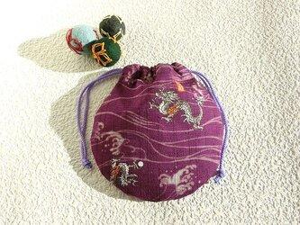 ミニ巾着 福龍 紫 御守り 小物収納 プレゼントにも の画像