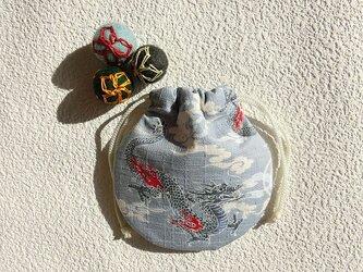ミニ巾着 天空の龍 ブルーグレー 御守り 小物収納 プレゼントにも の画像