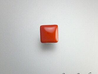 漆ラペルピン タイタック 朱漆 赤 スクエアモチーフ 漆アクセサリー : 薄型キャッチ チェーン有 無 2個付 ピンブローチの画像