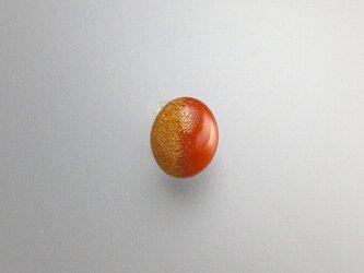 漆ラペルピン タイタック 朱漆楕円形 純金ぼかし蒔絵  漆アクセサリー : 薄型キャッチ チェーン有 無 2個付の画像
