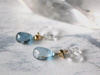 宝石質 天然石 ロンドンブルートパーズ ノンホールピアス イヤリング プレゼント トパーズ ブルートパーズ パワーストーンの画像