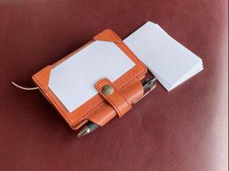 【ミニ6「 情報カード」 赤茶】 筒状ペンホルダーのシステム手帳 mini6 パスポートケース SN6-002rbnの画像