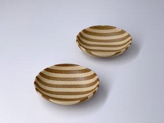練込み楕円豆皿2個セット stripeの画像