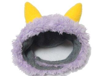 犬猫用コスプレ 紫鬼のかぶりもの(帽子)の画像