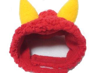 犬猫用コスプレ 赤鬼のかぶりもの(帽子)の画像
