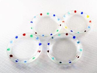 カラフルな縁飾りの豆皿の画像