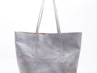 cowleather thin handle tote(シルバー)/牛革/タンニン/T043の画像