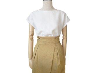 リネン100%シンプルフレンチ袖プルオーバー_Whiteの画像