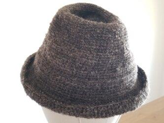 手編み中折れハット黒グレーの画像