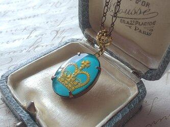 ヴィンテージ  Turquoise Blue-Crown(25×18㎜)Fowerクラシカルネックレスの画像