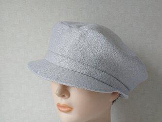 魅せる帽子☆【SALE!!】ラメ入りニットのキャスケット~パールグレーの画像