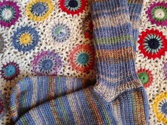 手編みハイソックスの画像