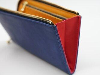 umaヌメ革blue×yellowヌメ革+RED:なめらかファスナーL字長財布:スマホ収納可能:サービス品の画像