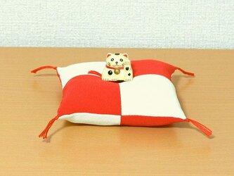 お人形置物用お座布団 めでたい紅白 お祝い しあわせ (四合わせ)正絹丹後ちりめん の画像