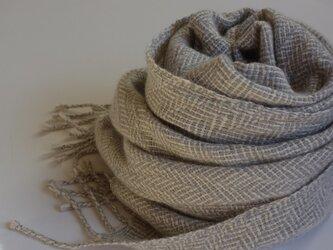 「Tさまご依頼品」手織りカシミアストール・・雪の葉っぱの画像